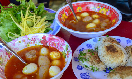 Braised rice pancake in Vietnam's beach town