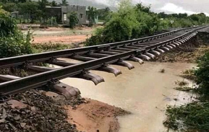 Erosion has damaged part of the North-South Railway in Ninh Thuan Province.