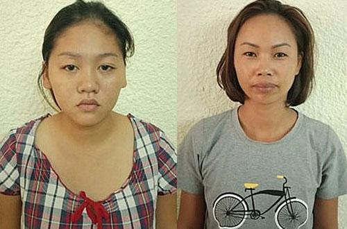 Nguyen Thi Nga (L) and Tao Thi Thuan. Photo courtesy of Hanoi Police