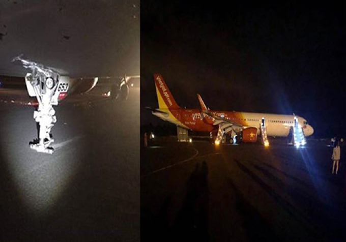 A compilation photo of the Vietjet aircraft (R) that had problem upon landing at Buon Ma Thuot Airport on Thursday night and the planes steering rod without the nose wheels.