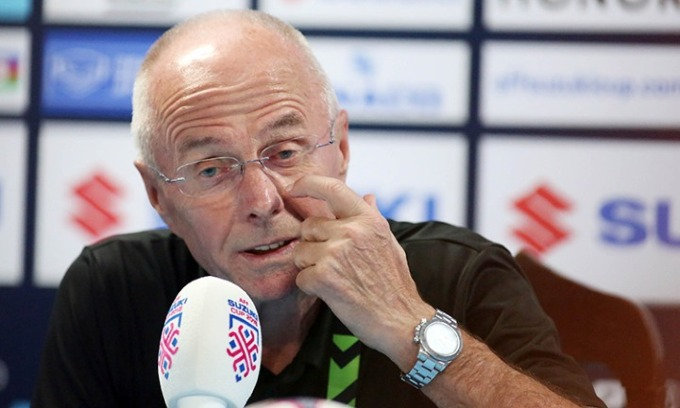 Head coach Sven-Goran Eriksson in post-match press conference. Photo by VnExpress/Duc Dong