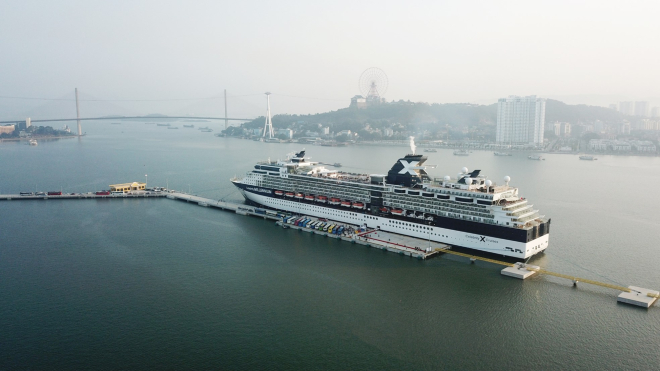 The first cruise vessel at Halong Bay.