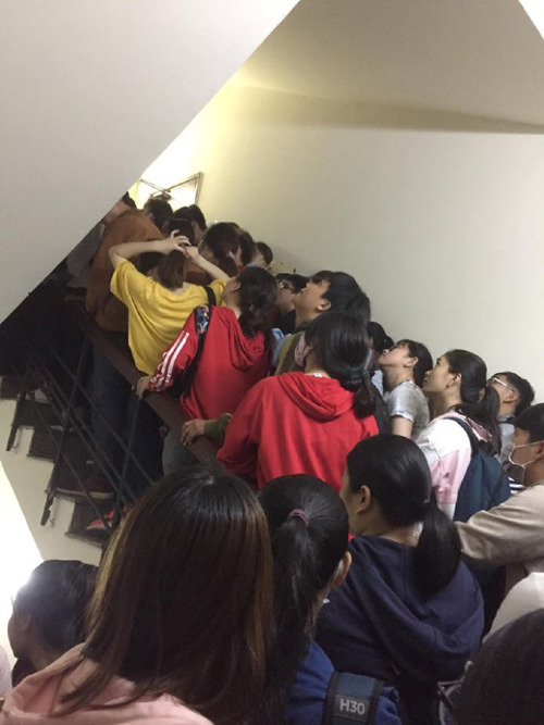 Candidates fill up the stair of the IMG Vietnams office in District 3. Photo courtesy of Facebook Nguyen Duc
