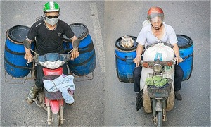 Vietnam's ubiquitous motorbikes, seen from above