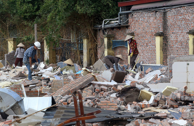 Rubbles remain after a store in the Nam Tu Liem District has been demolished