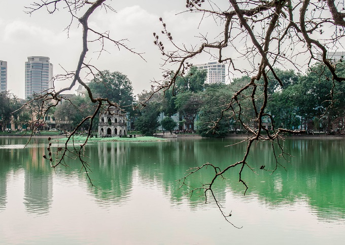 Hoan Kiem Lake or Sword Lake in the heart of Hanoi is one of the cityssymbols. Photo by VnExpress/Quynh Trang