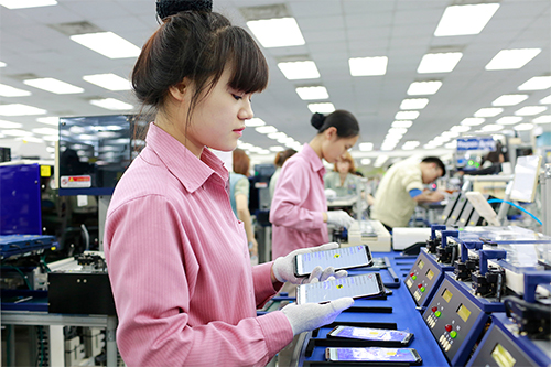 Inside a Samsung smartphone factory in Vietnam.