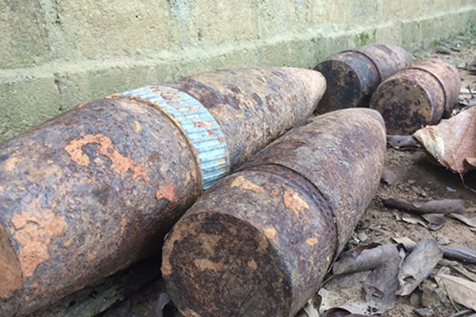 Some of the ammunition left in the scrap bases in Quang Tri Province. Photo by VnExpress/ Hoang Tao.