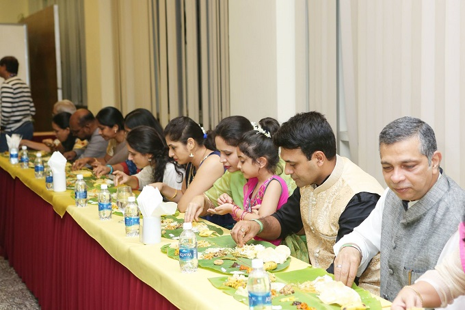 A highlight of the event was the Onasadhya, the traditional Onam feast served on banana leaves, with more than 20 dishes eaten with relish using hands  no forks, no chopsticks. Photo courtesy of Onam@Saigon18