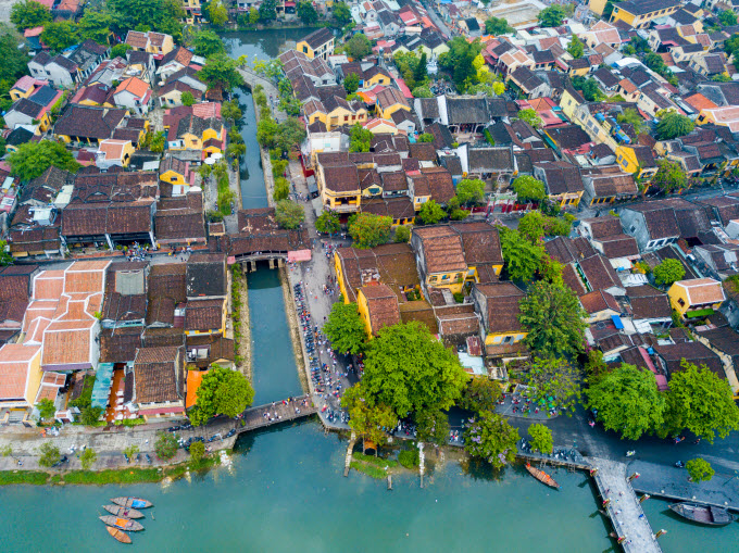 The ancient town of Hoi An is seen from above. Photo by Shutterstocks/Anthony Tran