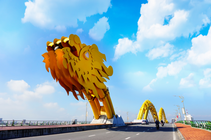 Dragon Bridge in Da Nang was designed to breathe fire and water. Photo by Shutterstock