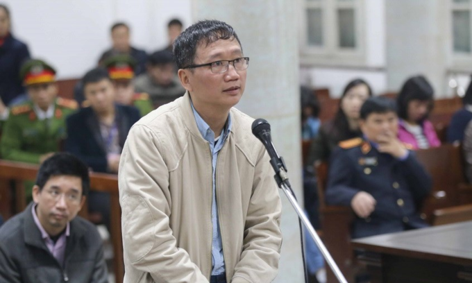 [CaTrinh Xuan Thanh at a court in Hanoi in January. Photo by the Vietnam News Agency