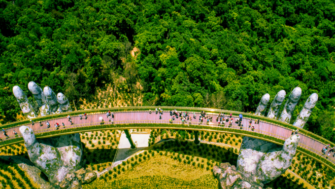 The Golden Bridge in Da Nang City is seen from above. Photo by Shutterstocks/Tonkin