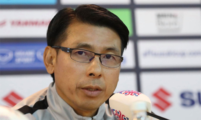 Malaysia head coach Tan Cheng Hoe in pre-match press conference of AFF Cup final second leg. Photo by Duc Dong/VnExpress.
