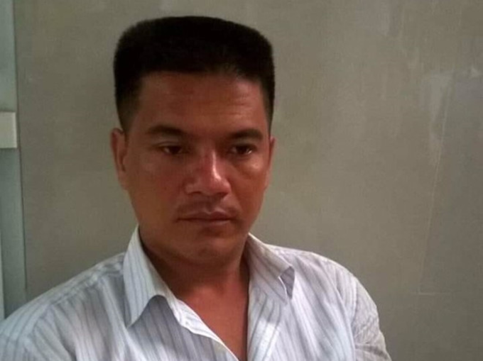 Pham Thanh Hieu, 32, is held at local police station after the accident that killed four and injured 16 others. Photo courtesy of Long An Police