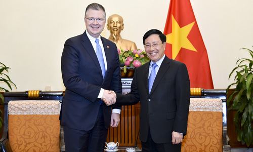 U.S. Ambassador to Vietnam U.S. Ambassador to Vietnam Daniel Kritenbrink (L) meets with Vietnams Foreign Minister Pham Binh Minh in Hanoi on Tuesday. Photo courtesy of Vietnams Ministry of Foreign Affairs