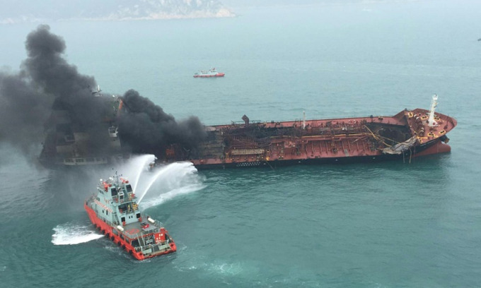 One dead, two missing after Vietnamese oil tanker catches fire off Hong Kong