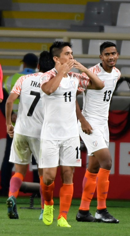Sunil Chhetris goal gave India their first Asian Cup win for 55 years. Photo by AFP / Khaled Desouki