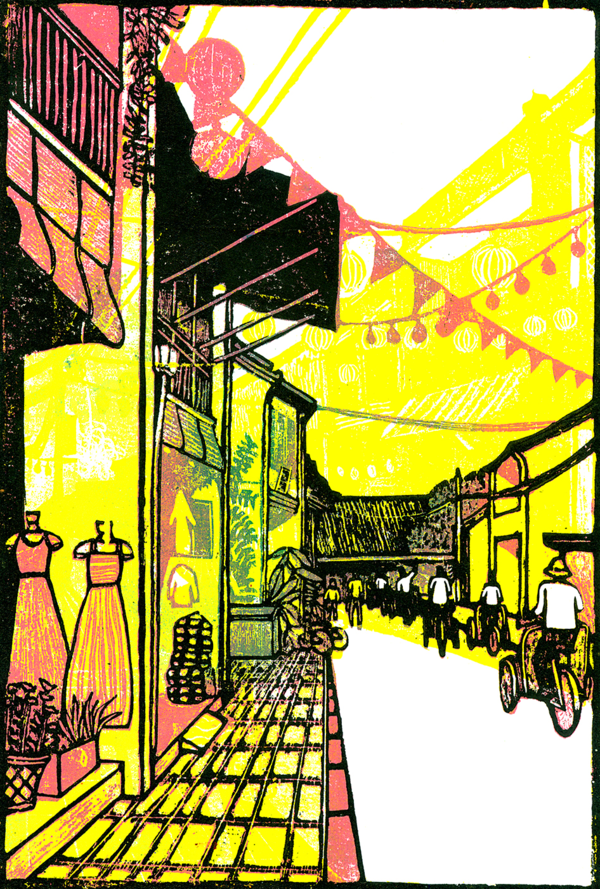 Cyclos ride along tailor shops under street lanterns in Hoi An, which is one of the works at Jack Claytons woodcut exhibition.