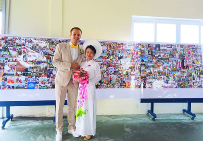 The Estonian man who went around the world got married to a Vietnamese woman last October. Photo courtesy of the couple.