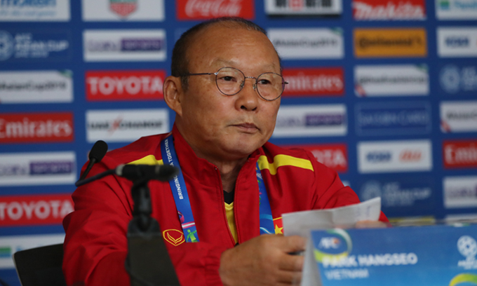 Head coach Park speaks at a press conference at AFC Asian Cup 2019. Photo by VnExpress/Van Loc