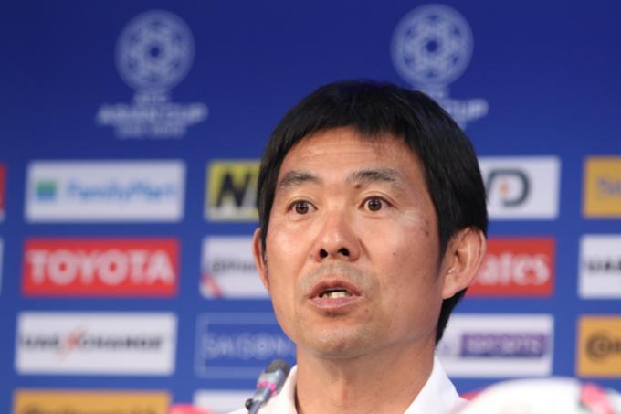 Japan head coach Hajme Moriyasu at a press conference on Wednesday.  Photo by VnExpress/Anh Khoa