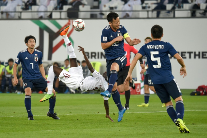 Qatars forward Almoez Ali (C) shoots to score during the 2019 AFC Asian Cup final football match between Japan and Qatar at the Zayed Sports City Stadium in Abu Dhabi on February 1, 2019. Photo by AFP/Roslan Rahman