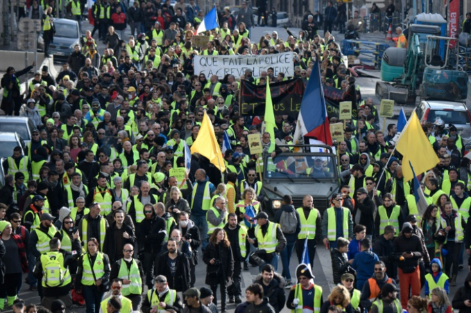 Yellow vest protesters turned out again in the French Mediterranean city of Marseille, joining thousands of others across the country. Photo by AFP/Gerard Julien