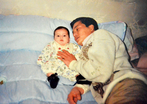 The photo of Lysiane as a child and her father. Photo provided by the family.