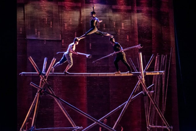 Lang Tois cirque performers during a rehearsal at Vietnam Tuong Theater in 2017. Photo by Linh Pham.