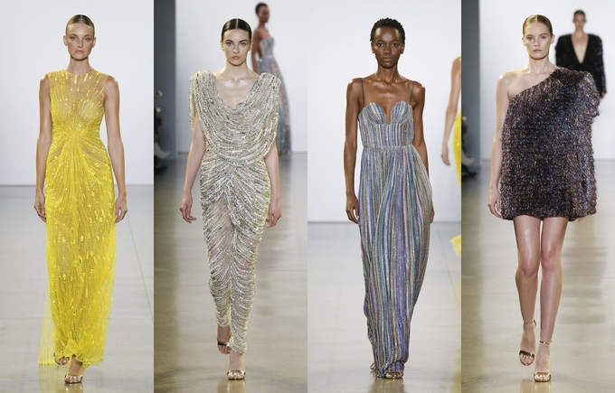 Four evening dresses showcased in Cong Tris collection at NYFW. Photo acquired by VnExpress