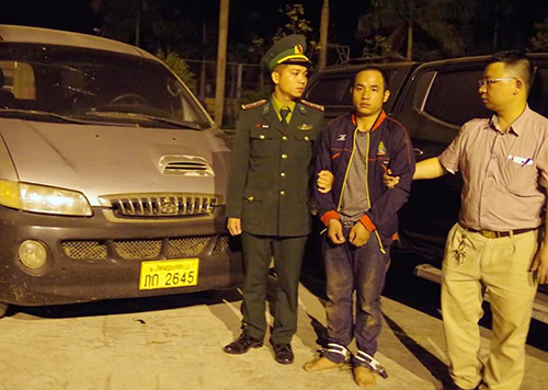 Vangchueyang Briachear was captured with 294 kilograms of methamphetamine on Sunday. Photo coutesy of Ha Tinh Border Guards