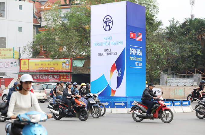 A billboard in downtown Hanoi promotes Hanoi as The City for Peace on one side and announcing the Trump-Kim summit on the other side. Photo by VnExpress/Ngoc Thanh