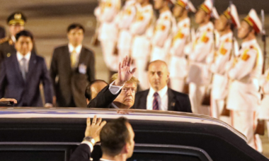 US President Donald Trump arrives in Hanoi