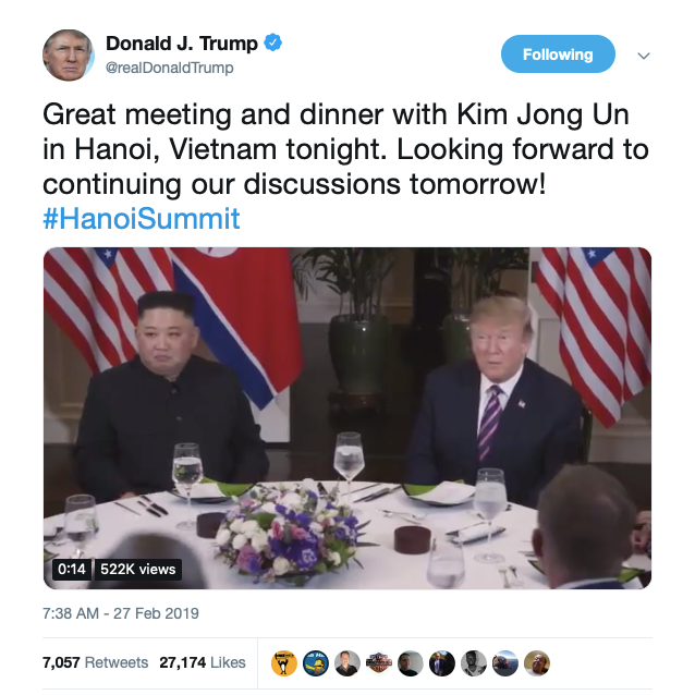Meeting, dining with Kim was 'great,' Trump tweets