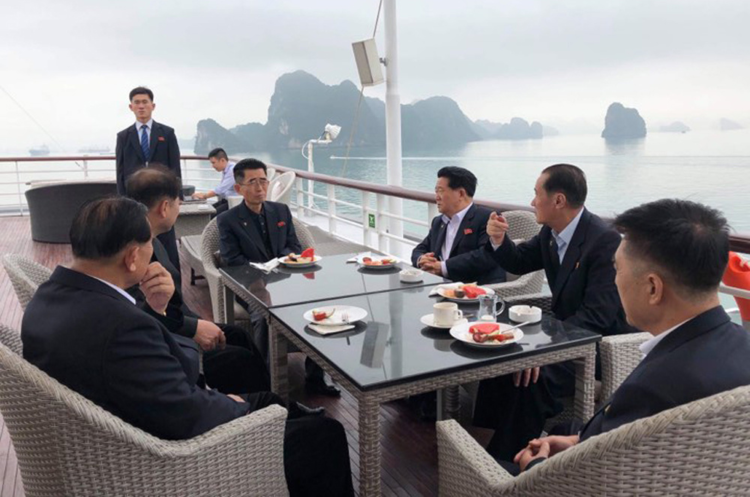 North Korean delegation of senior officials go on Ha Long Bay cruise Wednesday. Photo by VnExpress/Binh Minh