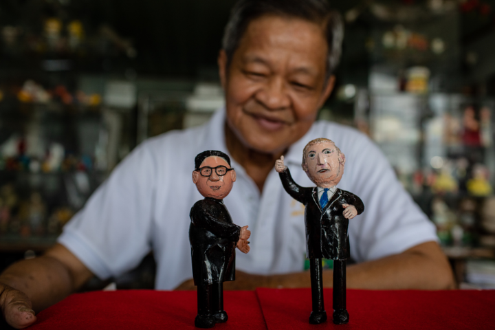 Teacher in Saigon makes US, North Korea leaders from eggshell