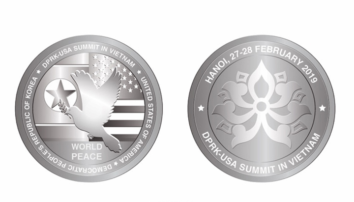 The Vietnam Stamp Company issues silver coins to commemorate the Trump-Kim Summit. Photo courtesy of Vietnam Stamp Company