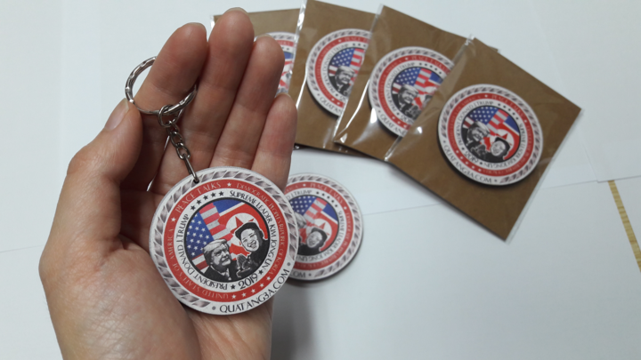 Conis and keychains featuring Trump and Kim have also been very popular. Photo by VnExpress