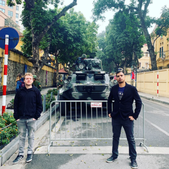 Lee Parry (left) and Neel Sapre on Hanoi's street on Monday morning. Photo courtesy of Gareth Johnson.