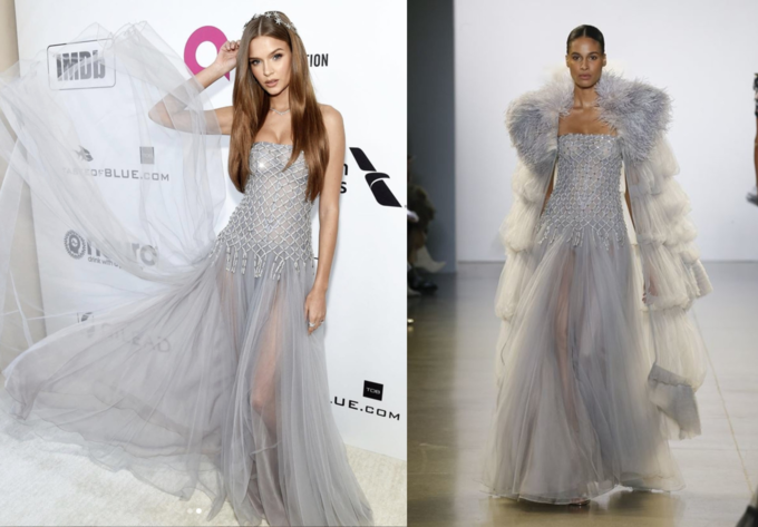 Supermodel Josephine Skriver wears a Cong Tris design to the Oscar party. Photo courtesy of Victorias Secret.