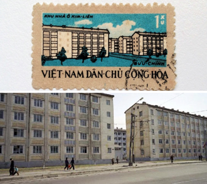 The stamp retains the original image of Kim Lien apartment building (above) and the North Korea apartment building (below). Photo courtesy by Nguyen The Son