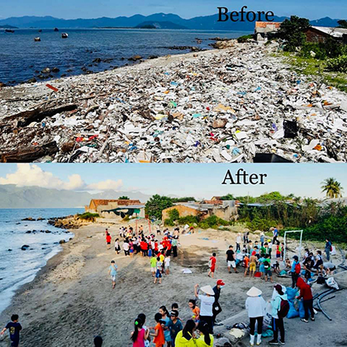 More than 300 volunteers help clean up Vinh Luong Beach. Photo acquired by VnExpress