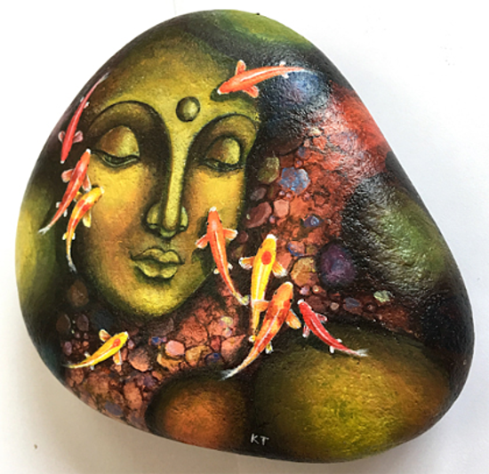 A piece of stone painting by Kien. Photo by VnExpress/Trong Nghia