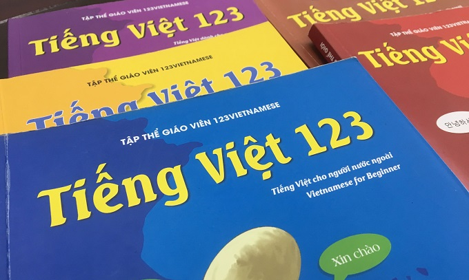 Vietnamese centers publish their own textbooks for foreign students. Photo by VnExpress/Dat Nguyen
