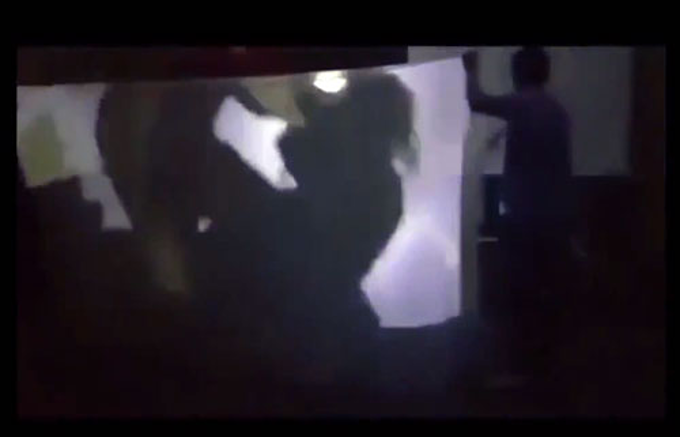 A screenshot of a play scene when the main character was raped.