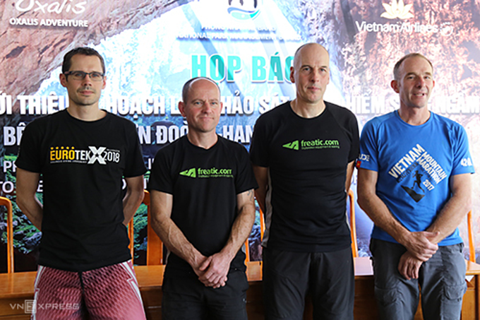 The four U.K. divers who will explore the underground river in Son Doong Cave. Photo by VnExpress/Hoang Tao