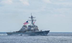 Two U.S. Navy warships sail through strategic Taiwan Strait