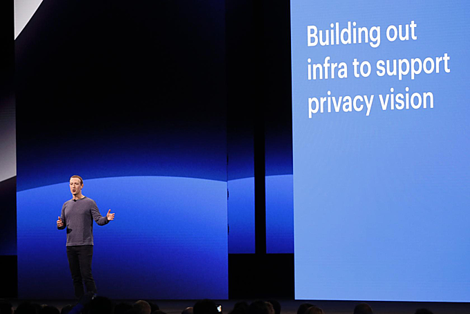 Facebook CEO Mark Zuckerberg speaks about privacy during his keynote at Facebook Incs annual F8 developers conference in San Jose, California, U.S., April 30, 2019. Photo by Reuters/Stephen Lam
