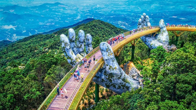 The Golden Bridge in Sun World Ba Na Hills became viral after its public opening in June 2018.